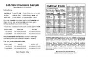 Schmilk Chocolate Sample Label